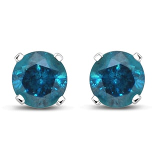 Unending Love 1ct 14K White Gold 4-prong Treated Blue Stud Earrings