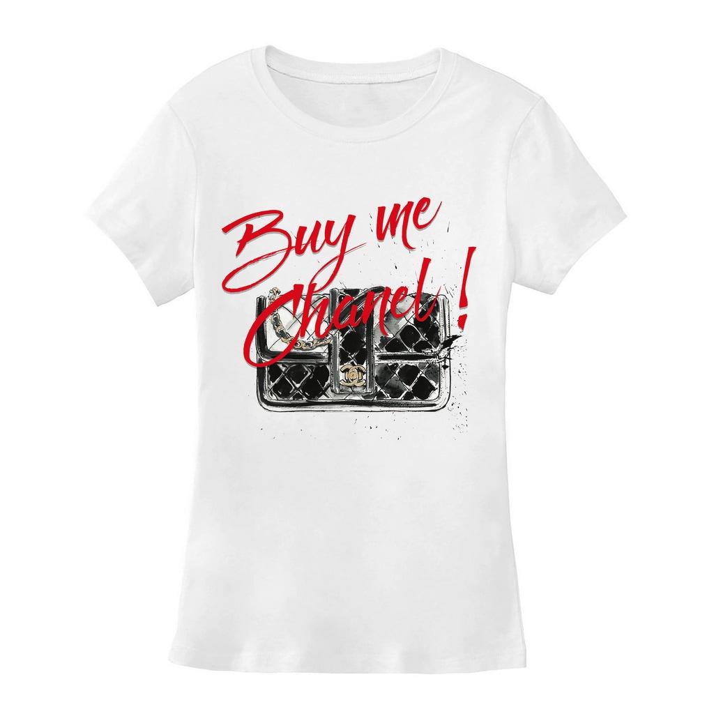 Byjodi women 39 s slim fit buy me chanel t shirt ebay for Chanel logo t shirt to buy