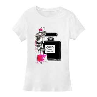 BY Jodi Women's Slim Fit Coco Chanel Graphic T Shirt