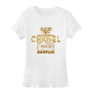 BY Jodi Women's Slim Fit Paris Perfume Graphic T Shirt