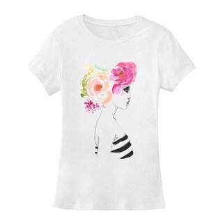 BY Jodi Women's Slim Fit Feminin Floral Graphic T Shirt