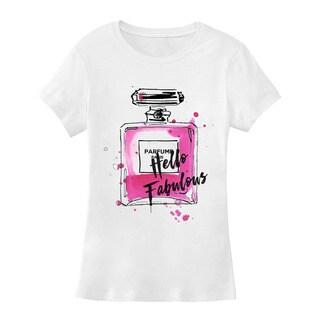 BY Jodi Women's Slim Fit Chanel Bottle Graphic T Shirt