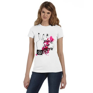BY Jodi Women's Slim Fit Peace, Love, Paris Graphic T Shirts