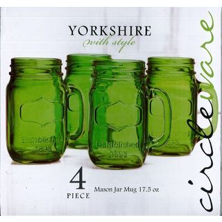 Yorkshire Green Glass 17.5-ounce Mason Jar Mug Set (Pack of 4)