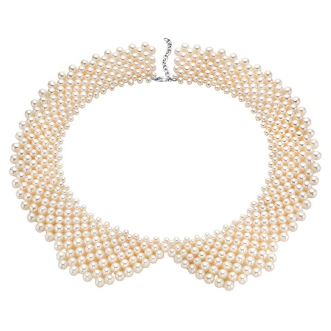 Pearlyta Sterling Silver Freshwater Beaded Pearl Collar Necklace (5 - 6mm)