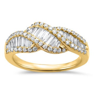 Montebello Jewelry 14k Yellow Gold 1ct TDW Diamond Baguette Ring - White G-H