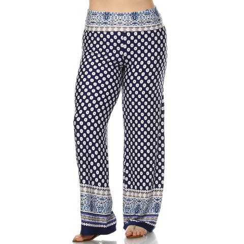 White Mark Plus-size Printed Palazzo Pants