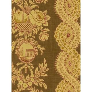 Thibaut Palladio Golden Woven Flowers Double Roll Designer Wallpaper