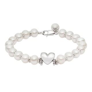 Pearlyta Sterling Silver Children's Freshwater Pearl 4-5-millimeter Heart Bracelet - White