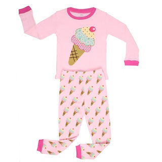 Elowel Girls' Ice Cream Pink Cotton 2-piece Pajama Set