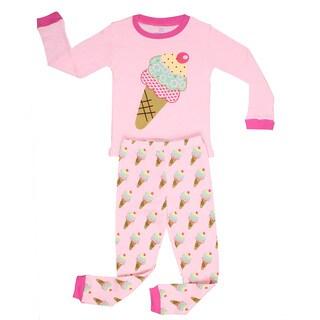 Elowel Girls' Ice Cream Pink Cotton 2-piece Pajama Set