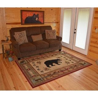 "Rustic Lodge Multicolored Polypropylene/Jute Wildlife-themed Traiditonal Area Rug - 7'10"" x 9'10"""