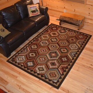 Rustic Lodge Southwestern Panel Cabin Multicolor Area Rug (7'10 x 9'10)