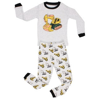 Elowel Boys' Bulldozer Grey Cotton Pajama Set