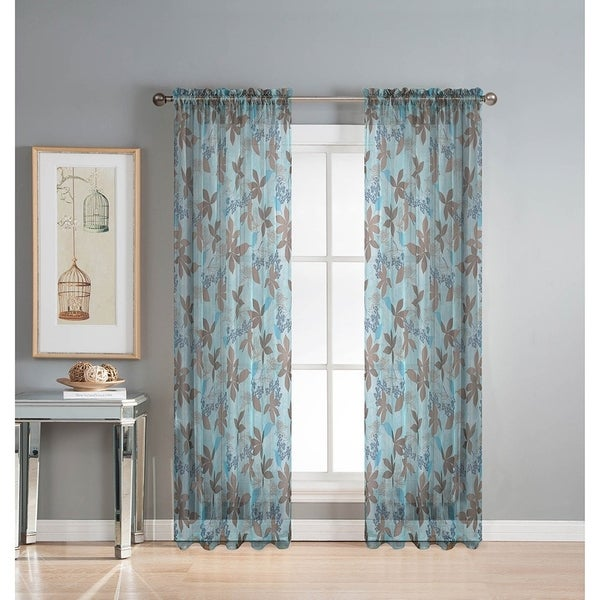Window Elements Ashville Printed Extra Wide 84 Inch Rod Pocket Sheer Curtain Panel
