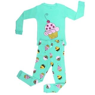 Elowel Girls' Cupcake Green Cotton Pajama Set