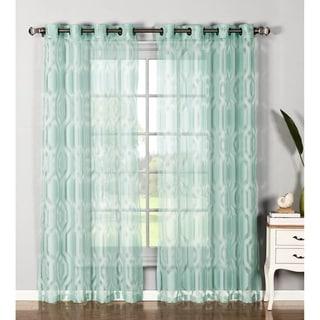 Window Elements Delta Cotton Blend Burnout Sheer 84-inch Grommet Curtain Panel Pair