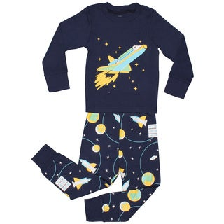 Elowel Boys' SpaceRocket Blue Cotton 2-piece Pajama Set