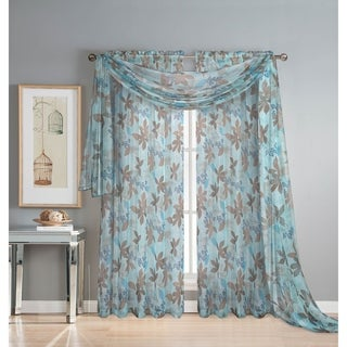Window Elements Ashville Printed 54-inch Sheer Curtain Scarf - 4' x 18'