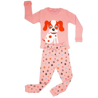 Elowel Girls' Dog Pink Cotton 2-piece Pajama Set