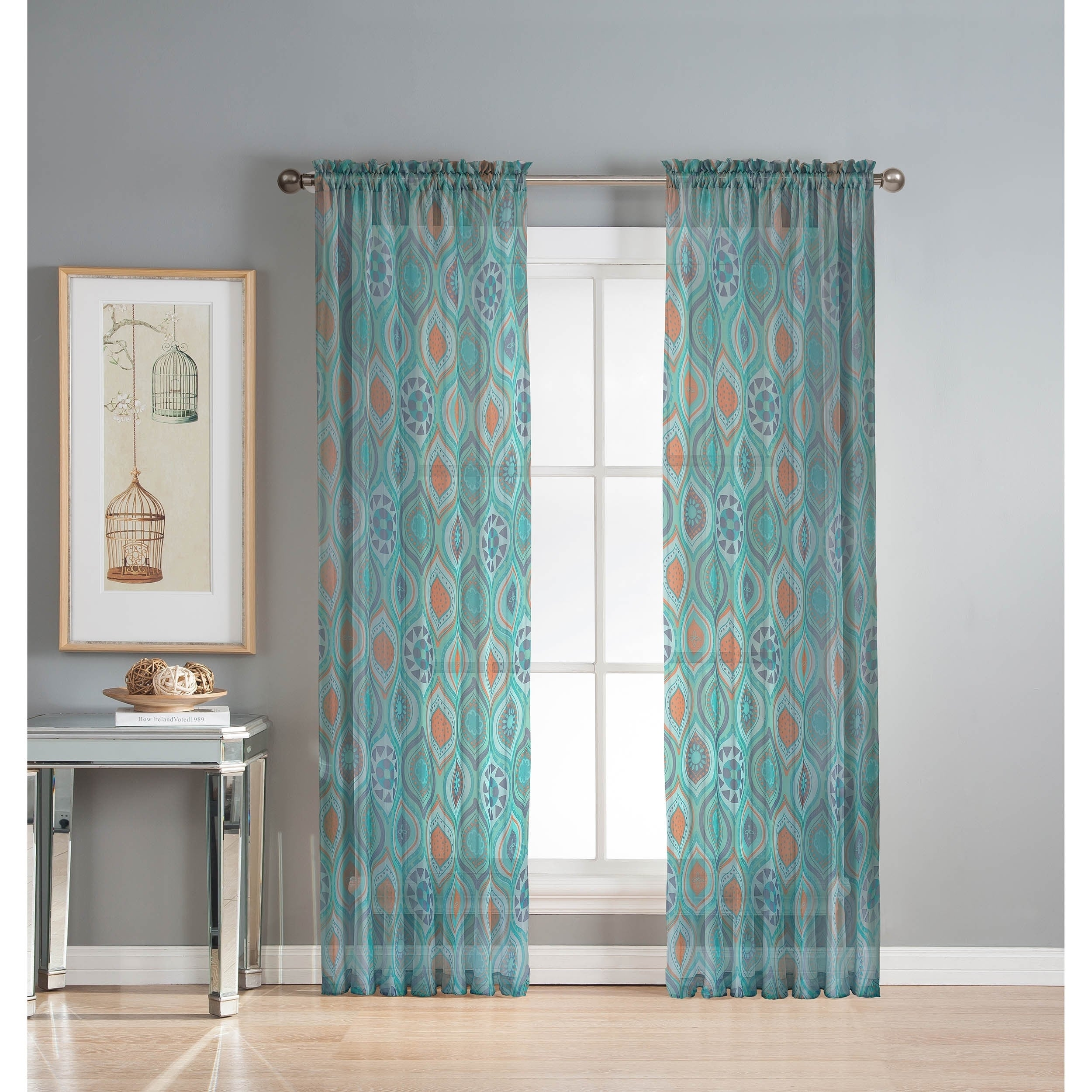 Window Elements Olina Printed Sheer Extra Wide 96 Inch Grommet