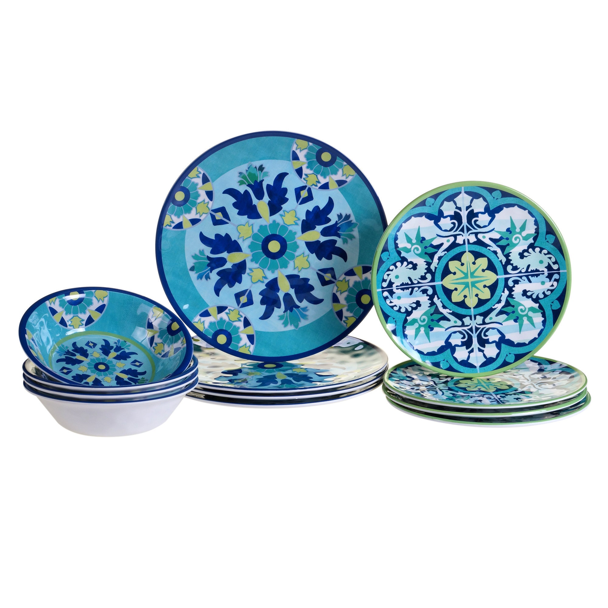 Blue Floral Dinnerware 12pcs Dining Set Summer Dinner Plates  sc 1 st  eBay & Blue Floral Dinnerware 12pcs Dining Set Summer Dinner Plates | eBay