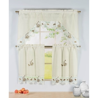 Window Elements Embroidered 72-inch Kitchen Tier with Scalloped Border