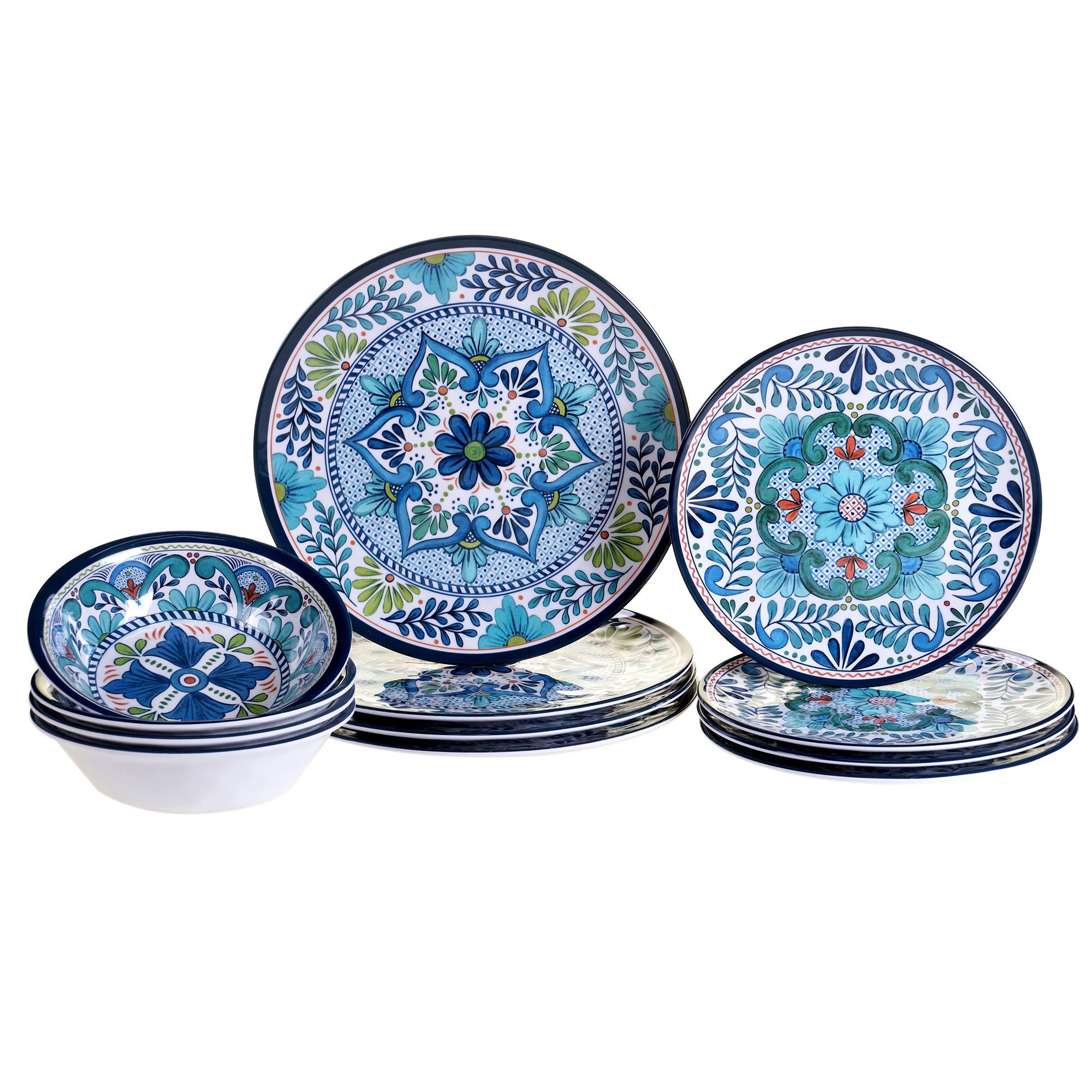 12-piece Dinnerware Set Blue Pattern Dinner Plates Dishwasher Safe Melamine  sc 1 st  eBay & 12-piece Dinnerware Set Blue Pattern Dinner Plates Dishwasher Safe ...