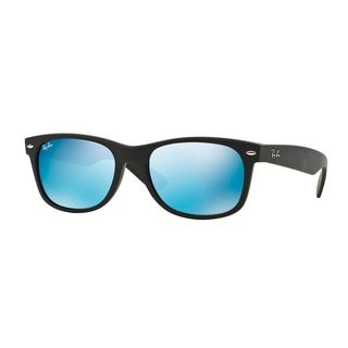 Ray-Ban RB2132 622/17 New Wayfarer Black Frame Blue Flash 52mm Lens Sunglasses