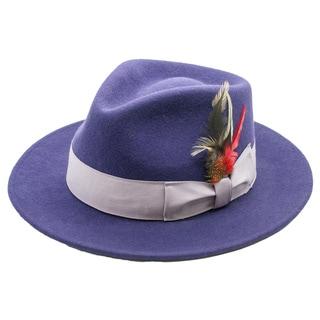 Ferrecci Premium Wool Fully Lined Purple Fedora Hat