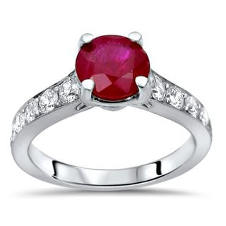 Noori 14k White Gold 1ct TGW Ruby and 1/2ct TDW Diamond Engagement Ring (G-H, SI1-SI2)