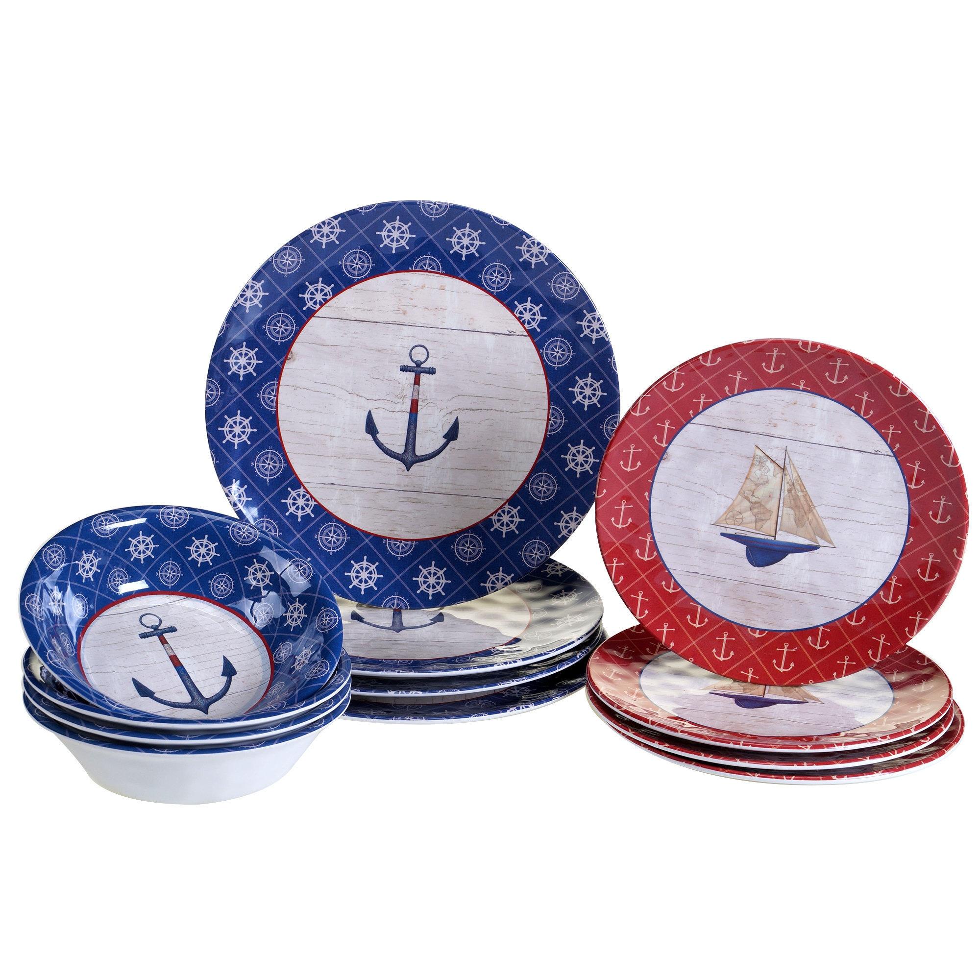 DETAILS. Nautical Design Nautique 12-pc Melamine Dinnerware Set ...  sc 1 st  eBay & Nautical Design Nautique 12-pc Melamine Dinnerware Set Dinner Plate ...