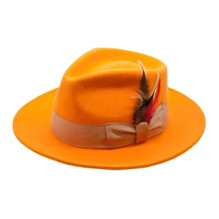 Ferrecci Premium Wool Orange Fully Lined Fedora Hat