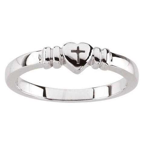 Sterling-silver Small Heart with Cross Chastity Purity Ring - White