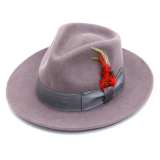 Ferrecci Men's Purple Wool Felt Lined Fedora Hat