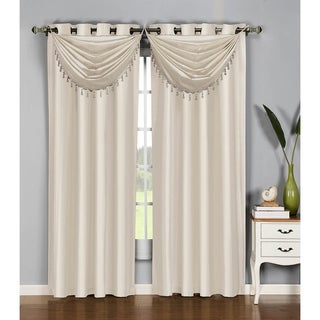 Window Elements Jane Faux Silk 37-inch Grommet Waterfall Window Valance (Option: Taupe)