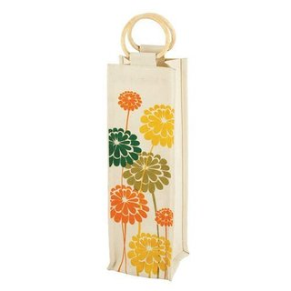 True Fabrications Bamboo Handle Canvas Daisies Jute Wine Bag