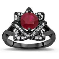 Noori 14k Black Gold 1ct TGW Ruby Lotus Flower and 2/5ct TDW Diamond Engagement Ring (G-H, SI1-SI2) - White