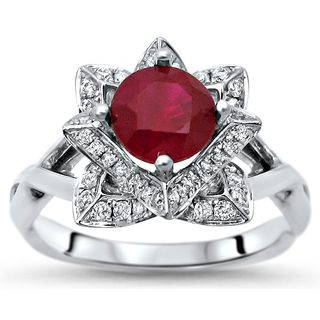 Noori 14k Gold 1ct TGW Round Ruby Lotus Flower and 2/5ct TDW Diamond Engagement Ring (G-H, SI1-SI2)