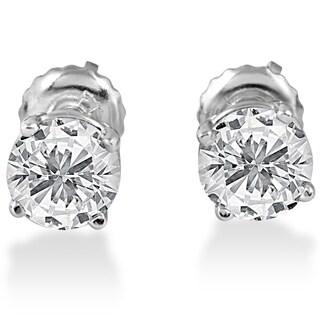 14k White Gold 1 1/2 ct TDW Screw Back Diamond Studs (F-G,SI1-SI2)