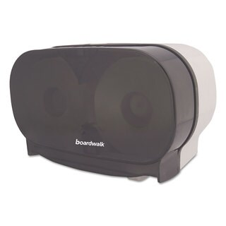 Boardwalk Twin STD Tissue Dispenser Two Standard Rolls Smoke Black 5 3/8 x 11 1/8 x 7 7/8