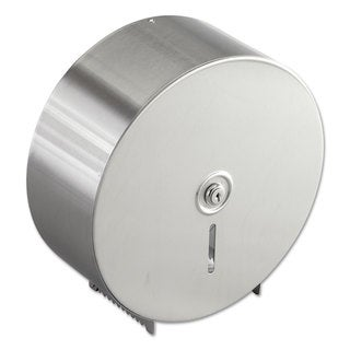 Bobrick Jumbo Toilet Tissue Dispenser Stainless Steel 10.625-inch wide x 10.625-inch hig-inch high x 4.5-inch deep
