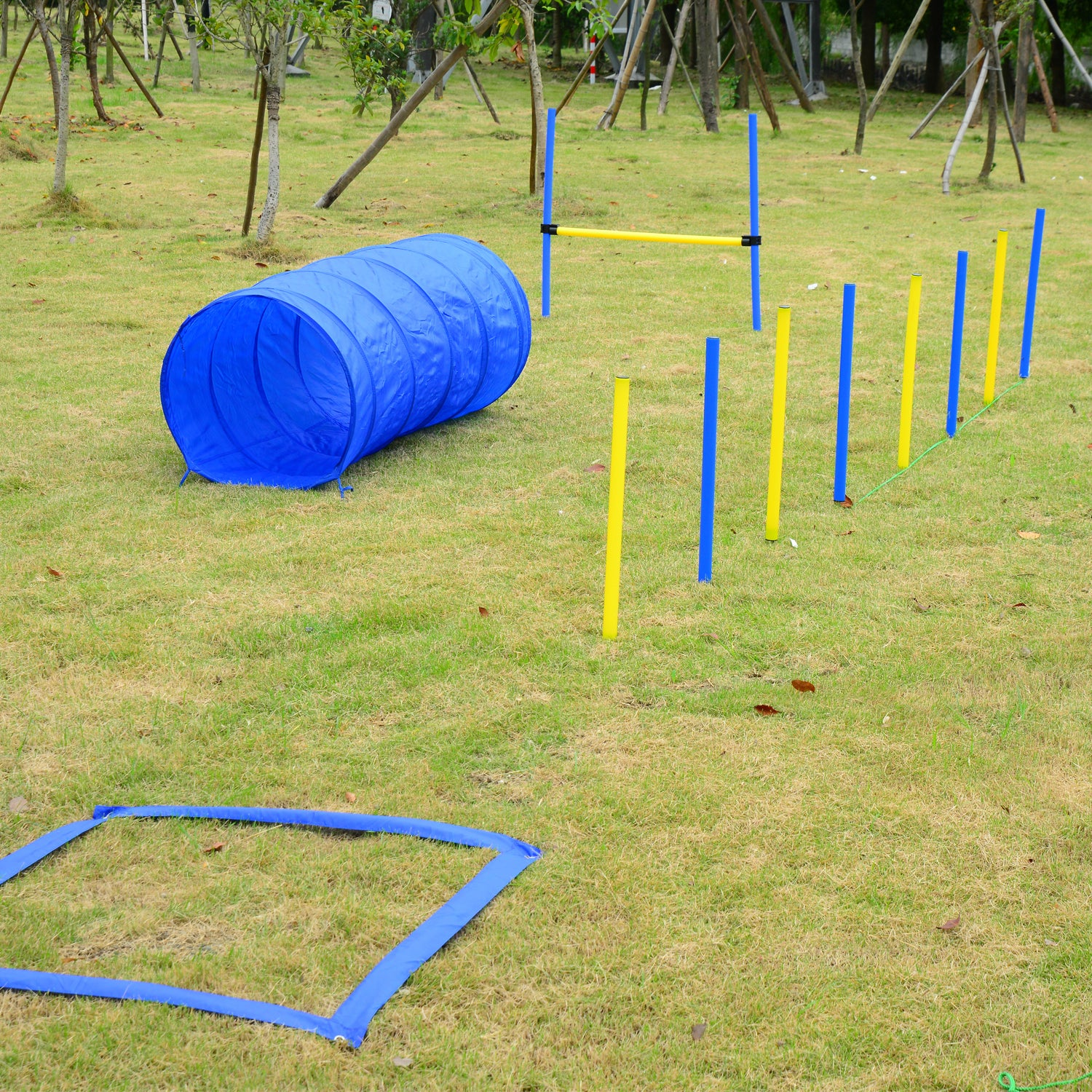 Aosom Pawhut Dog Obstacle Agility Training Course Kit (Bl...