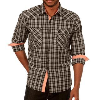 Something Subtle Long Sleeve Plaid Shirt in Black