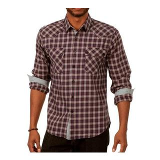 Something Subtle Men's Long Sleeve Plaid Shirt in Black