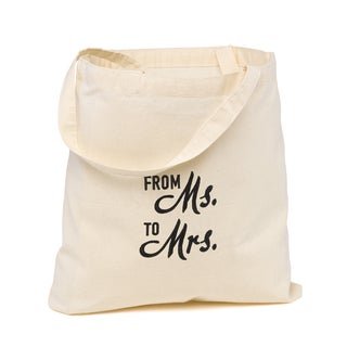 Best Ever Wedding Party Bride Off-white and Black Cotton Tote Bag