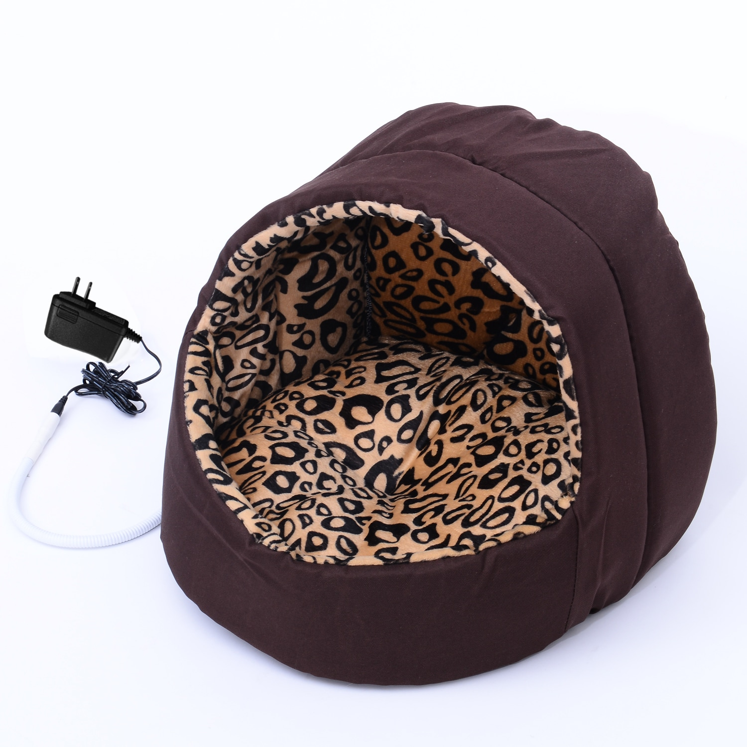 Pawhut Hooded Indoor Electric Heated Round Dog Pet Bed (B...