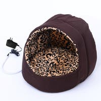 Pawhut Hooded Indoor Electric Heated Round Dog Pet Bed