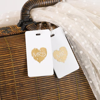 Brush of Love 'Mr' White and Gold Plastic Luggage Tag