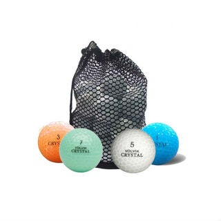 Crystal Colors Mixed Rubber Recycled Golf Balls and Mesh Bag (Case of 50)